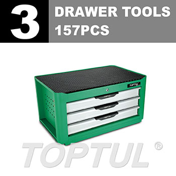 W/3-Drawer Tool Chest - 157PCS Mechanical Tool Set (NEW PRO-LINE SERIES) GREEN