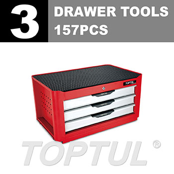 W/3-Drawer Tool Chest - 157PCS Mechanical Tool Set (NEW PRO-LINE SERIES) RED