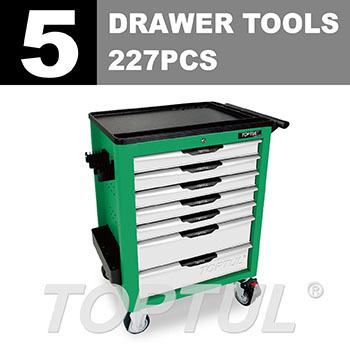 W/7-Drawer Tool Trolley - 227PCS Mechanical Tool Set (NEW PRO-LINE SERIES) GREEN