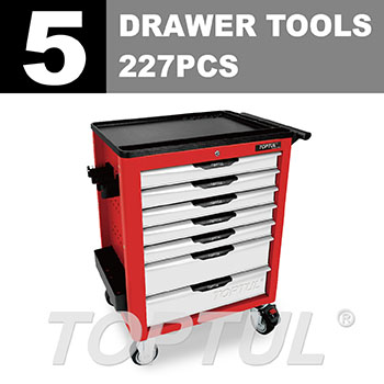 W/7-Drawer Tool Trolley - 227PCS Mechanical Tool Set (NEW PRO-LINE SERIES) RED