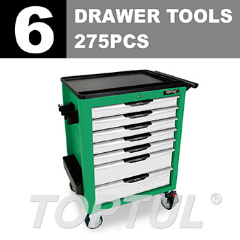 W/7-Drawer Tool Trolley - 275PCS Mechanical Tool Set (NEW PRO-LINE SERIES) GREEN