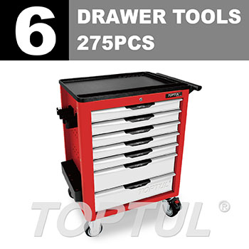 W/7-Drawer Tool Trolley - 275PCS Mechanical Tool Set (NEW PRO-LINE SERIES) RED