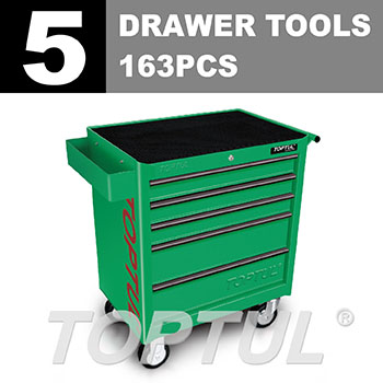 W/5-Drawer Tool Trolley - 163PCS Mechanical Tool Set