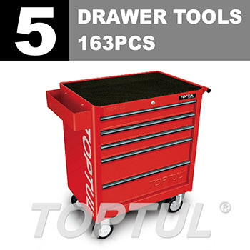 W/5-Drawer Tool Trolley - 158PCS Mechanical Tool Set