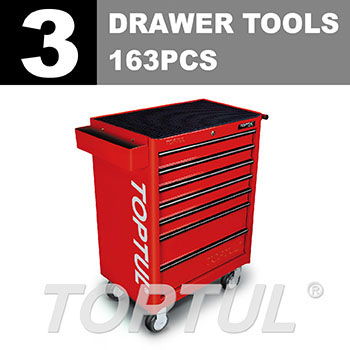 W/7-Drawer Tool Trolley - 163PCS Mechanical Tool Set (GENERAL SERIES) RED