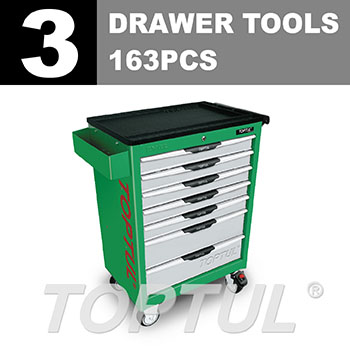 W/7-Drawer Tool Trolley - 163PCS Mechanical Tool Set