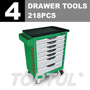 W/7-Drawer Tool Trolley - 218PCS Mechanical Tool Set (PRO-LINE SERIES) GREEN