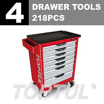W/7-Drawer Tool Trolley - 218PCS Mechanical Tool Set
