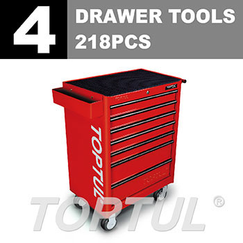 W/7-Drawer Tool Trolley - 218PCS Mechanical Tool Set (GENERAL SERIES) RED