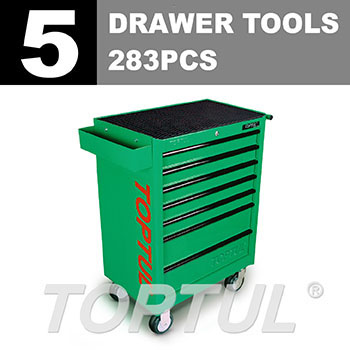 W/7-Drawer Tool Trolley - 283PCS Mechanical Tool Set (GENERAL SERIES) GREEN