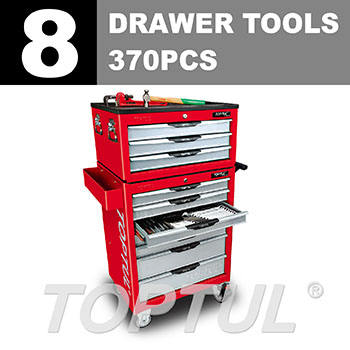 W/3 Drawer Tool Chest + W/7 Drawer Tool Trolley - 370PCS Mechanical Tool Set