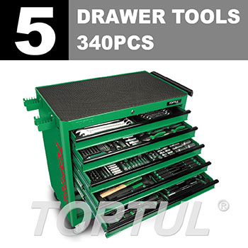 340PCS W/8-Drawer Jumbo Tool Trolley