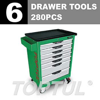 W/7-Drawer Tool Trolley - 280PCS Mechanical Tool Set (PRO-LINE SERIES) GREEN