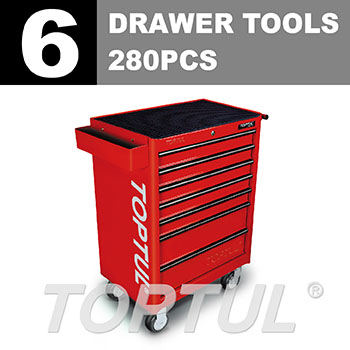 W/7-Drawer Tool Trolley - 280PCS Mechanical Tool Set (GENERAL SERIES) RED