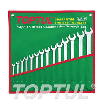 15° Offset Long Combination Wrench Set - POUCH BAG - GREEN (Satin Chrome Finished)