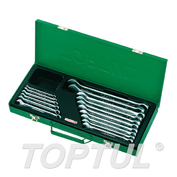 15° Offset Standard Combination Wrench Set - METAL BOX