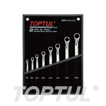 45° Offset Double Ring Wrench Set - POUCH BAG - BLACK (Satin Chrome Finished)
