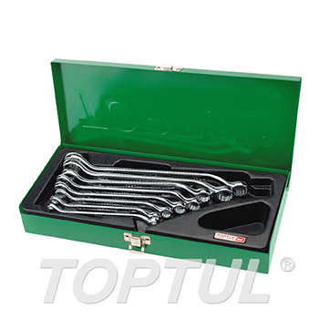 45° Offset Double Ring Wrench Set - METAL BOX (Mirror / Satin Chrome Finished)