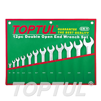 Double Open End Wrench Set - POUCH BAG - GREEN (Mirror / Satin Chrome Finished)