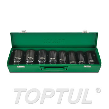 "8PCS 3/4"" DR. 6PT Flank Deep Impact Socket Set"