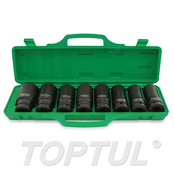 "8PCS 3/4"" DR. 6PT Flank Deep Impact Socket Set (22-38mm)"