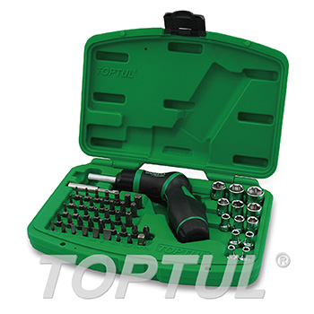 54PCS High-Torque Pistol Grip Ratchet Screwdriver, Bit & Socket Set