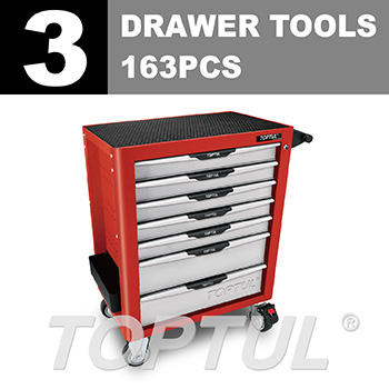 W/7-Drawer Tool Trolley - 163PCS Mechanical Tool Set (PRO-PLUS SERIES) RED