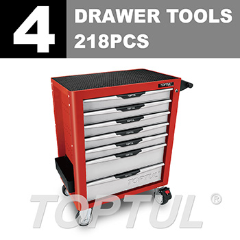 W/7-Drawer Tool Trolley - 218PCS Mechanical Tool Set (PRO-PLUS SERIES) RED