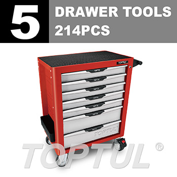 W/7-Drawer Tool Trolley - 214PCS Mechanical Tool Set (PRO-PLUS SERIES) RED
