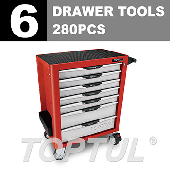 W/7-Drawer Tool Trolley - 280PCS Mechanical Tool Set (PRO-PLUS SERIES) RED