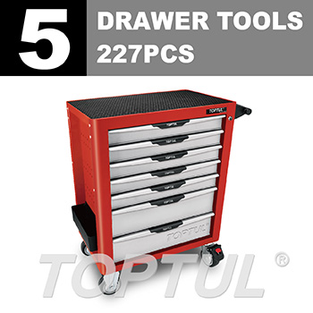 W/7-Drawer Tool Trolley - 227PCS Mechanical Tool Set (PRO-PLUS SERIES) RED