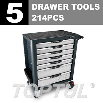 W/7-Drawer Tool Trolley - 214PCS Mechanical Tool Set (PRO-PLUS SERIES) GRAY