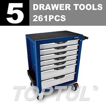 W/7-Drawer Tool Trolley - 261PCS Mechanical Tool Set (PRO-PLUS SERIES) BLUE