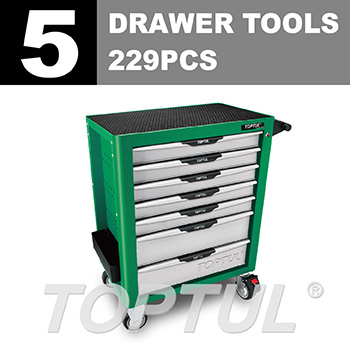 W/7-Drawer Tool Trolley - 229PCS Mechanical Tool Set (PRO-PLUS SERIES) GREEN