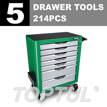 W/7-Drawer Tool Trolley - 214PCS Mechanical Tool Set (PRO-PLUS SERIES) GREEN - Flat Finished