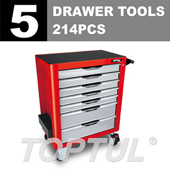 W/7-Drawer Tool Trolley - 214PCS Mechanical Tool Set (PRO-PLUS SERIES) RED - Flat Finished