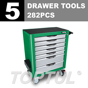 W/7-Drawer Tool Trolley - 282PCS Mechanical Tool Set (PRO-PLUS SERIES) GREEN - Flat Finished