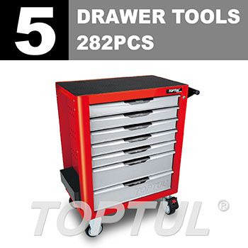 W/7-Drawer Tool Trolley - 282PCS Mechanical Tool Set (PRO-PLUS SERIES) RED - Flat Finished