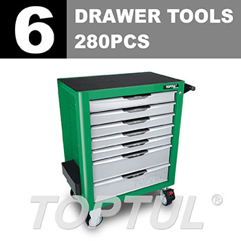 W/7-Drawer Tool Trolley - 280PCS Mechanical Tool Set (PRO-PLUS SERIES) GREEN - Flat Finished