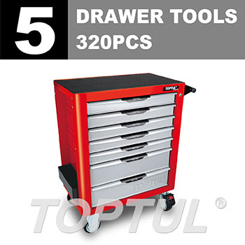 W/7-Drawer Tool Trolley -320PCS Mechanical Tool Set (PRO-PLUS SERIES) RED - Flat Finished