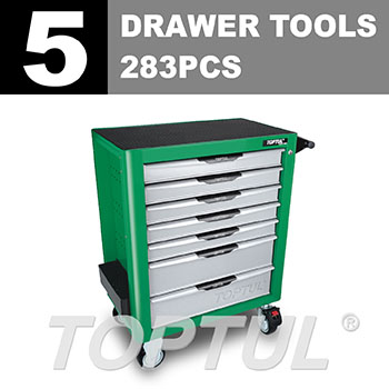 W/7-Drawer Tool Trolley - 283PCS Mechanical Tool Set (PRO-PLUS SERIES) GREEN - Flat Finished