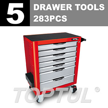 W/7-Drawer Tool Trolley - 283PCS Mechanical Tool Set (PRO-PLUS SERIES) RED - Flat Finished