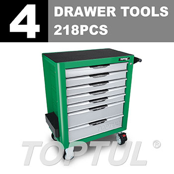 W/7-Drawer Tool Trolley - 218PCS Mechanical Tool Set (PRO-PLUS SERIES) GREEN - Flat Finished
