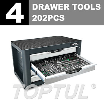W/4-Drawer Tool Chest - 202PCS Mechanical Tool Set