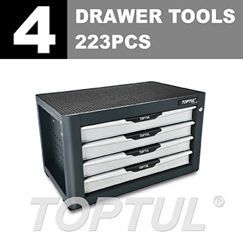 W/4-Drawer Tool Chest - 223PCS Mechanical Tool Set
