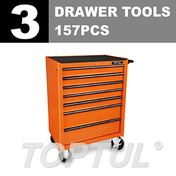 W/7-Drawer Tool Trolley - 157PCS Mechanical Tool Set (ECONOMIC SERIES) ORANGE