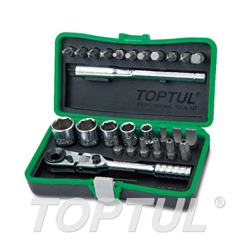 "27PCS 1/4"" DR. Mini Ratchet Socket & Bit Set"