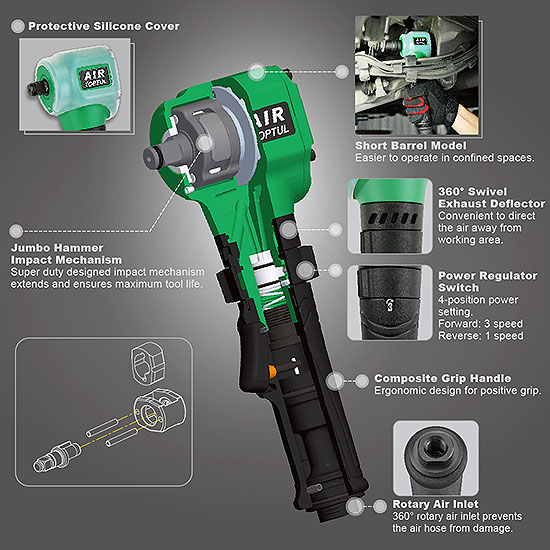 "1/2"" DR. Air Angle Impact Wrench (Gearless Type)"