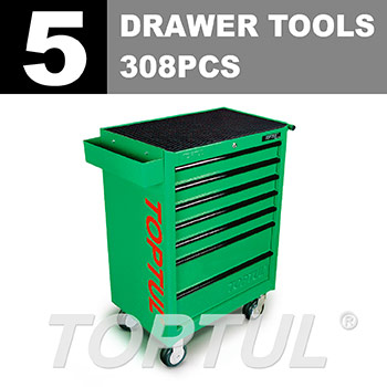 W/7-Drawer Tool Trolley - 308PCS Mechanical Tool Set (GENERAL SERIES) GREEN - Flat Finished