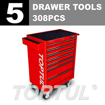 W/7-Drawer Tool Trolley - 308PCS Mechanical Tool Set (GENERAL SERIES) RED - Flat Finished